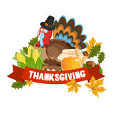 Vector Illustration of a Happy Thanksgiving Celebration Design. Royalty Free Stock Photography