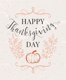 Vector illustration of Happy Thanksgiving Day, autumn vintage design Stock Photography