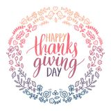 Vector illustration with Happy Thanksgiving Day lettering in floral frame. Invitation or festive greeting card template. Vector illustration with Happy Stock Image