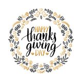 Vector illustration with Happy Thanksgiving Day lettering in floral frame. Invitation or festive greeting card template. Vector illustration with Happy Stock Photo