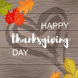 Happy thanksgiving Day postcard on wood texture royalty free illustration