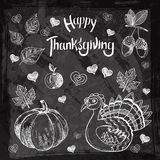 Vector illustration of a Happy Thanksgiving. With the designed lettering theme. Thanksgiving Day Hand drawn vintage illustrations. Can be use as flyer, poster Stock Image
