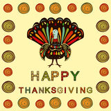 Vector illustration happy Thanksgiving painting hand draw bright Stock Images