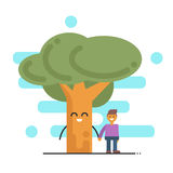 Vector illustration of happy tree and young man holding hands. Royalty Free Stock Images