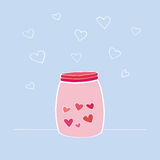 Vector illustration of Happy Valentine`s Day card. Hand drawn jar or bottle with love components. Design element for wedding or Va. Vector illustration of Happy Stock Image