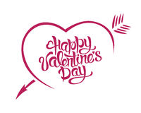 Vector illustration Happy Valentines Day card typography. A heart with an arrow Royalty Free Stock Photography
