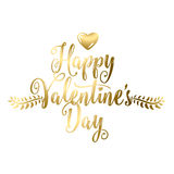 Vector illustration of happy valentines day lettering gold greeting Royalty Free Stock Images