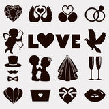 Vector illustration of happy wedding and Valentine days Royalty Free Stock Images