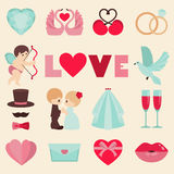Vector illustration of happy wedding and Valentine days Royalty Free Stock Photography
