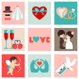 Vector illustration of happy wedding and Valentine days Stock Image