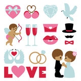 Vector illustration of happy wedding and Valentine days Royalty Free Stock Photos