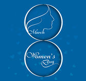 Vector illustration Happy Women's Day blue background card Royalty Free Stock Photos