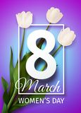 Vector illustration Happy Women`s Day March 8 holiday greeting card. With a bouquet of white tulips on blue purple background with frame royalty free illustration