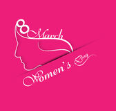 Vector illustration Happy Women's Day pink colorful background c Royalty Free Stock Photo