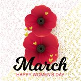 8 March vector card. Vector illustration, Happy Womens day text. 8 March greeting card Stock Images