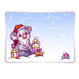 Vector illustration of hare in Christmas hat Stock Image