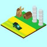 Vector illustration. Harvesting wheat. Harvester, windmill, silo, barn, combine harvester gathers wheat on a field. isometric Stock Photo
