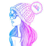 Vector illustration hat fashion drawing design beauty beautiful girl female Royalty Free Stock Photos
