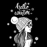 Vector illustration hat fashion drawing design beauty beautiful girl female Royalty Free Stock Images