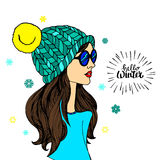 Vector illustration hat fashion drawing design beauty beautiful girl female Stock Images