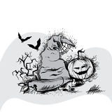 Vector illustration of hat, pumpkin and two bats to the Halloween Royalty Free Stock Photo