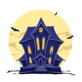Haunted witch house with cat in the window and hand lettering of Halloween isolated on full moon background. Stock Images