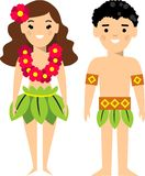 Vector illustration of  hawaiian male and female. Set of   hawaiian male and female dressed in national costumes Stock Images