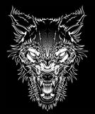 Vector illustration head ferocious wolf, outline silhouette on a black background. Hand drawing,Shirt designs, biker, disk jockey, gentleman, barber and many royalty free illustration