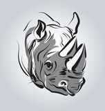 Vector illustration of the head of a rhinoceros Stock Images