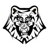 Vector illustration head tiger on a white background. Vector illustration head ferocious tiger on a white background Royalty Free Stock Images