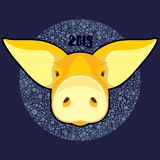 Vector illustration head of yellow pig for happy new year 2019 card. Vector illustration head of yellow pig on a deep blue background with light bubbles for new royalty free illustration