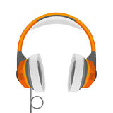 Vector illustration headphones. Headphones in a realistic style. Vector illustration of orange headphones for listening to music Royalty Free Stock Photography