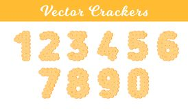Health cracker. Isolated cookie: figure one, two, three, four, five, six, seven, eight, nine, ziro. Icon 1, 2 royalty free illustration