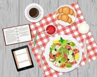 Vector illustration of healthy breakfast or business lunch on th. E table. Coffee break. Ccoffee, salad, toasts and croissants. Vector flat illustration stock illustration