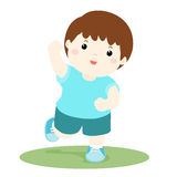 Vector illustration of a healthy happy boy running ,cartoon Royalty Free Stock Images