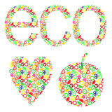 Vector illustration of heart, apple. Eco concept with elements of fruits. Stock Images