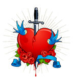 Vector illustration of heart with birds. Roses and ribbon for your text. Classic tattoo style picture Stock Image