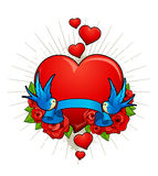 Vector illustration of heart with birds. Roses and ribbon for your text. Classic tattoo style picture Royalty Free Stock Photos