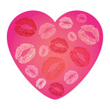 Vector illustration of heart card with lip prints Stock Image