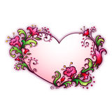 Vector illustration with heart and cartoon flowers Stock Image