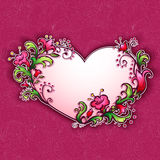 Vector illustration with heart and cartoon flowers Stock Photography