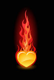 Vector illustration of a heart in fire Stock Photography