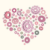 Vector illustration of the heart of the gears. Template for postcards royalty free illustration