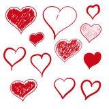 Vector illustration heart hand drawn Royalty Free Stock Images