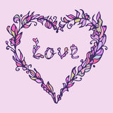 Vector illustration of heart. Hand drawn love doodle. Pink and purple colors. Royalty Free Stock Images