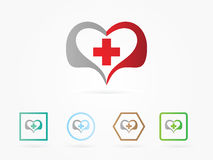 Vector illustration heart with health logo. Plus in heart symbol, sign, icon, logo template for charity, health, voluntary, non profit organization, isolated on Stock Photo