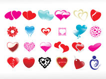 Vector illustration of heart icon set Royalty Free Stock Images