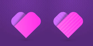 Vector illustration of heart icons on purple background Stock Photos