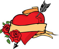 Vector illustration of heart impaled by arrow. Heart impaled by arrow with two roses Stock Photography