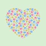 Vector illustration heart of padlocks, keys in heart shape. Greeting invitation card for saint Valentine day, wedding day Royalty Free Stock Image